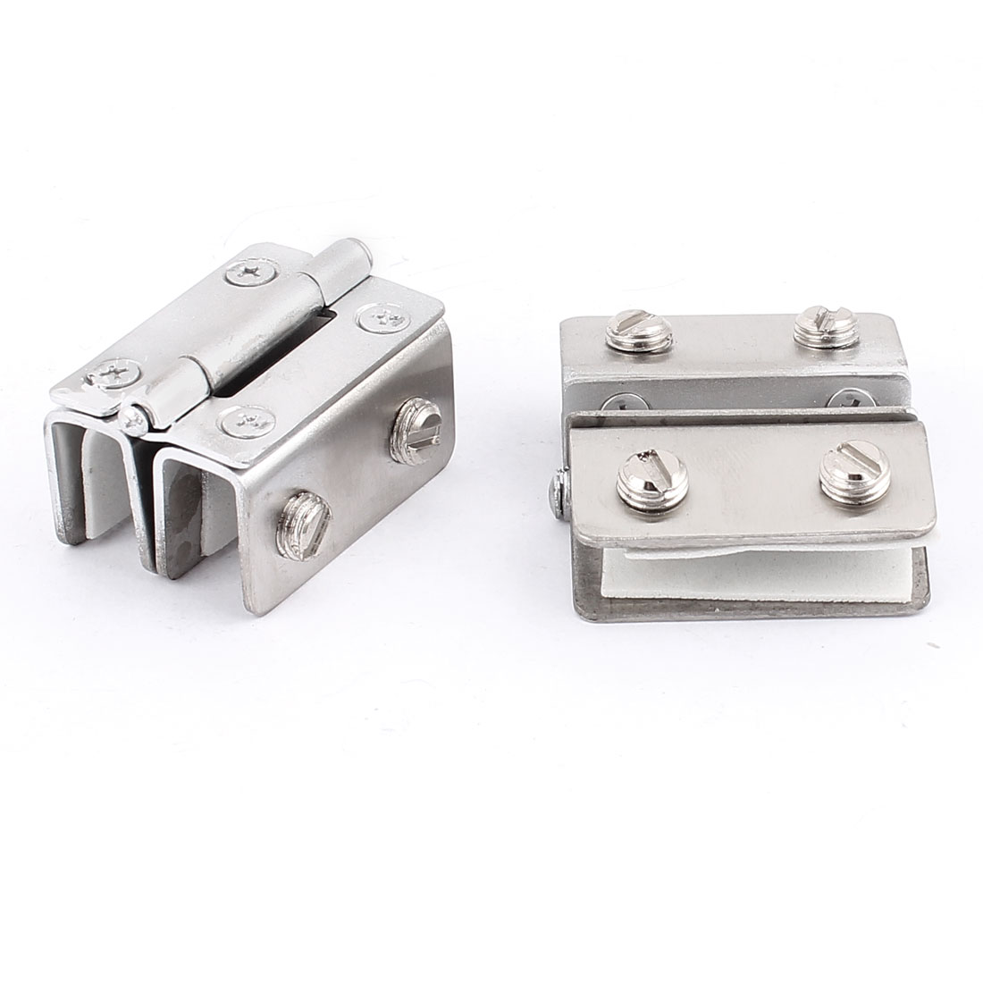 2pcs Metal Wall Mounted Clamp Clip Door Hinge Catch for 8mm-10mm Thickness Glass