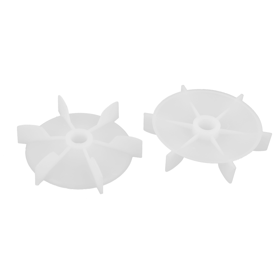 2pcs 14mm D Shape Bore White Plastic 6 Impeller Motor Cooling Fan Vane Wheel