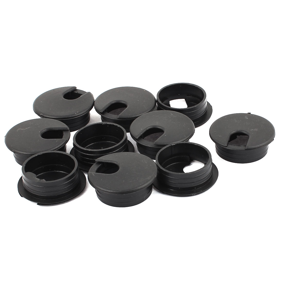 Office PC Computer Desk Table Plastic Grommet Cable Cord Hole Cap Cover Black 35mm Dia 10pcs