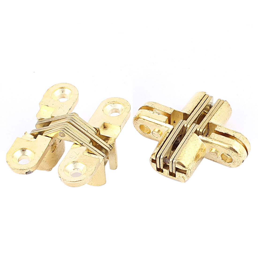 2pcs Gold Tone Metal Folding Sliding Door Cabinet Cupboard Furniture Cross Hinge