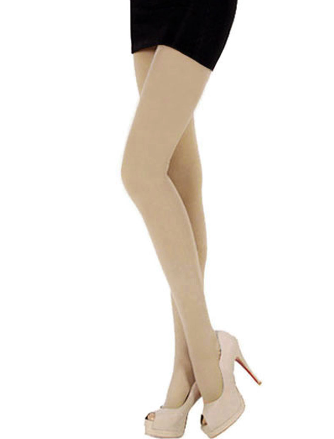Lady Stretchy Tights Leggings Footed Formfitting Pantyhose Stockings Beige /XS (US 0)