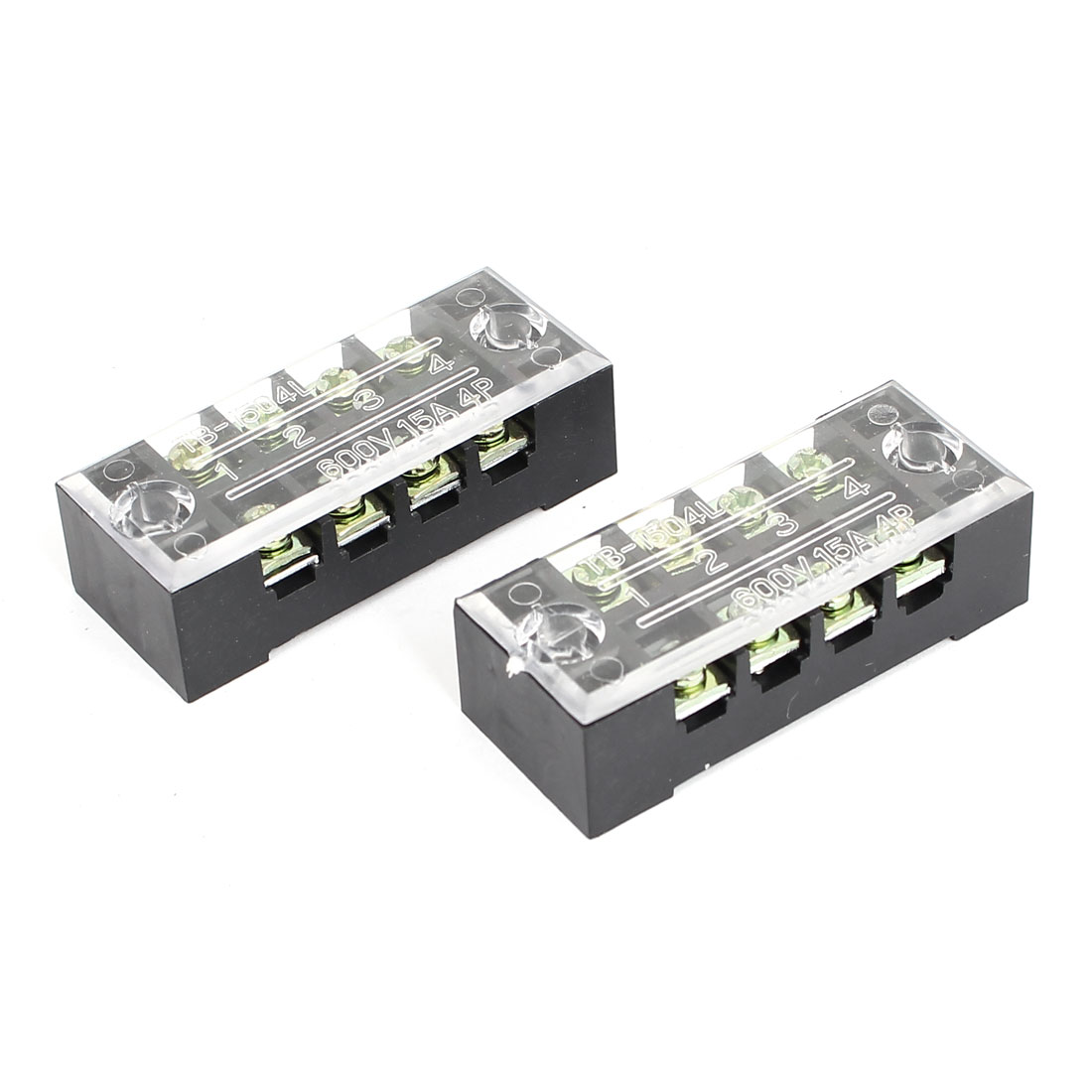 TB1504L Double Row 4 Position 600V 15A Power Terminals Block Barrier Strip 2pcs