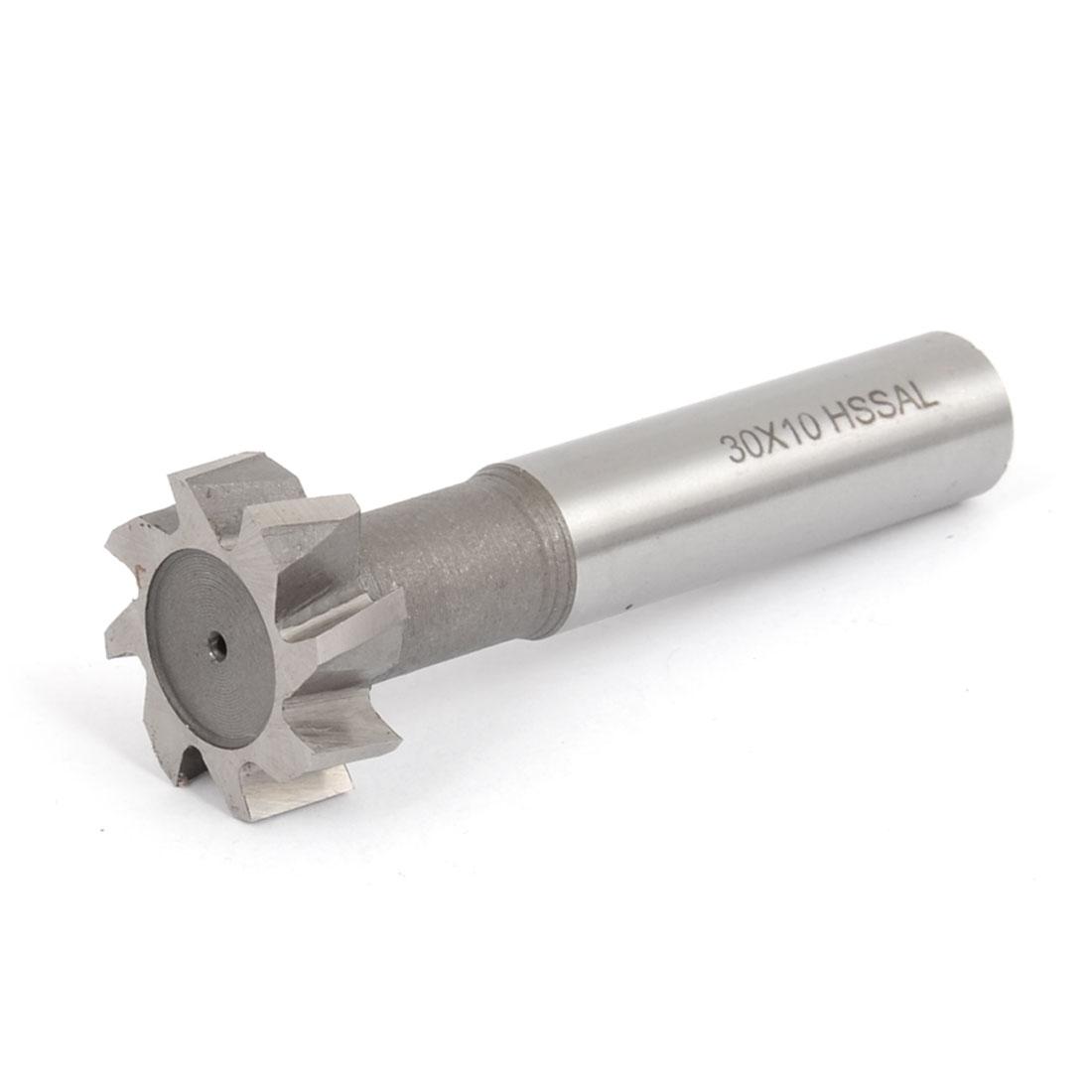 30mm Cutting Dia 10mm Cutting Depth 8 Flutes Straight Shank T Slot End Mill