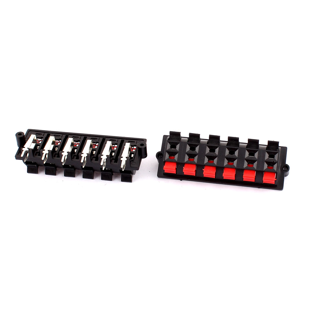 2pcs 12 Terminal Double Row 12 Position Spring Loaded Push in Type Speaker Socket Connector Board