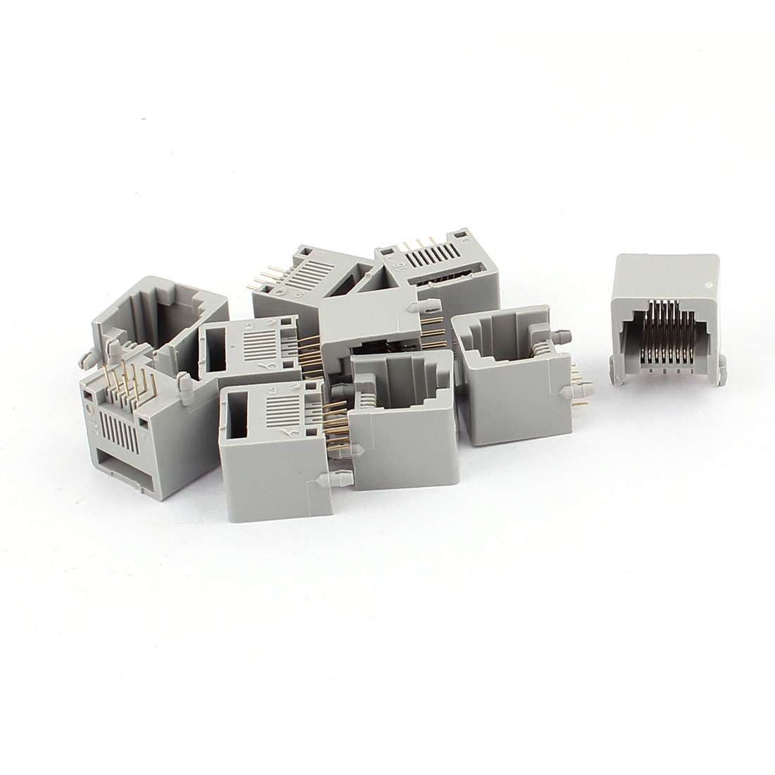 10pcs Gray Plastic RJ45 8P8C Modular PCB Mount Network Internet Jack LAN Connector