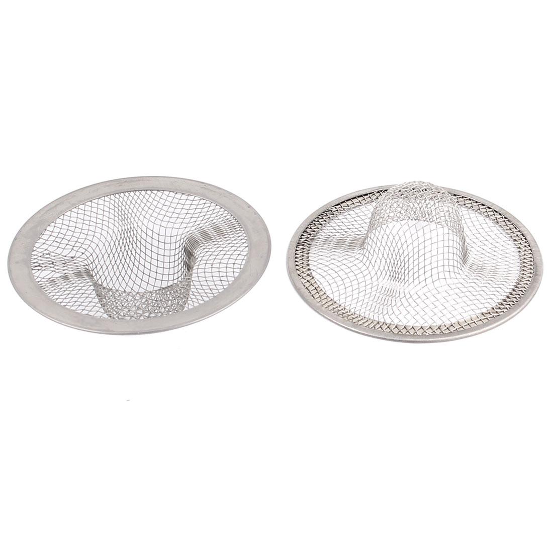 Bathroom Bathtub Metal Mesh Hole Design Basin Sink Drain Strainer Stopper Basket 71mm Dia 2pcs