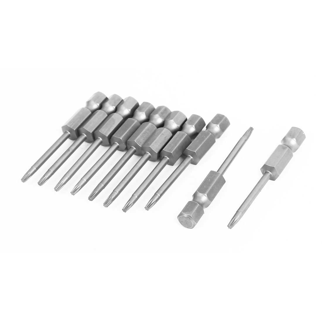 "T7 Tip 1/4"" Hex Shank 50mm Long Magnetic Torx Screwdriver Bits 10pcs"