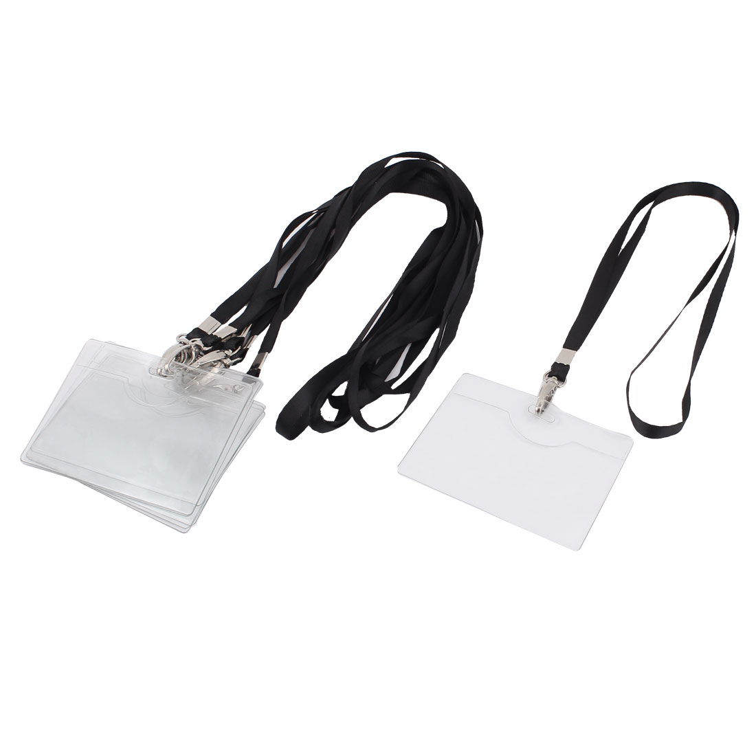 6pcs 10cmx7.5cm Clear Plastic Horizontal Design Work ID Name Card Tag Badge Holder Carrier Neck Strap
