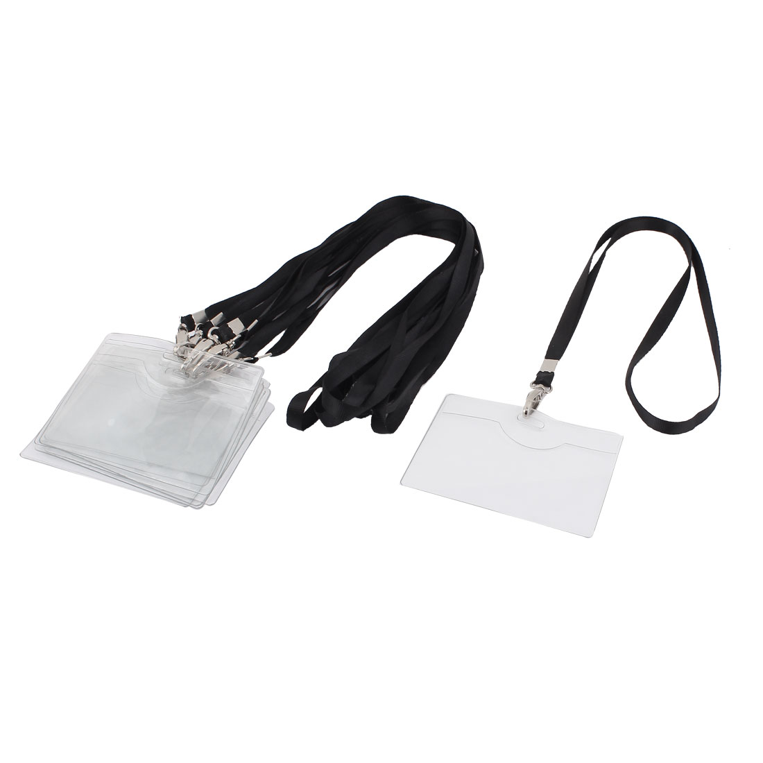 9pcs 10cmx7.5cm Plastic Horizontal Design Work ID Business Name Card Tag Badge Holder Carrier Neck Strap