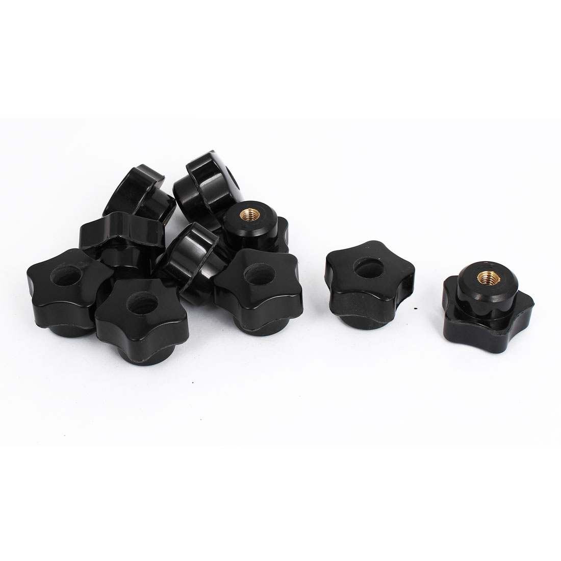 M6 Female Thread 32mm Star Head Dia Plastic Clamping Knob 10pcs