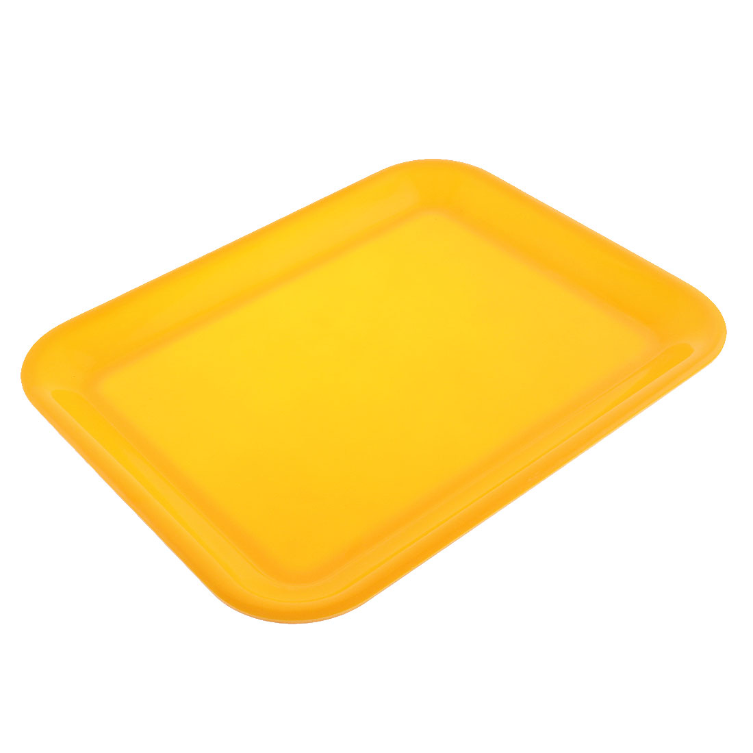 "Plastic Rectangle Shaped Food Pizzeria Dinner Serving Tray Yellow 13"" Length"