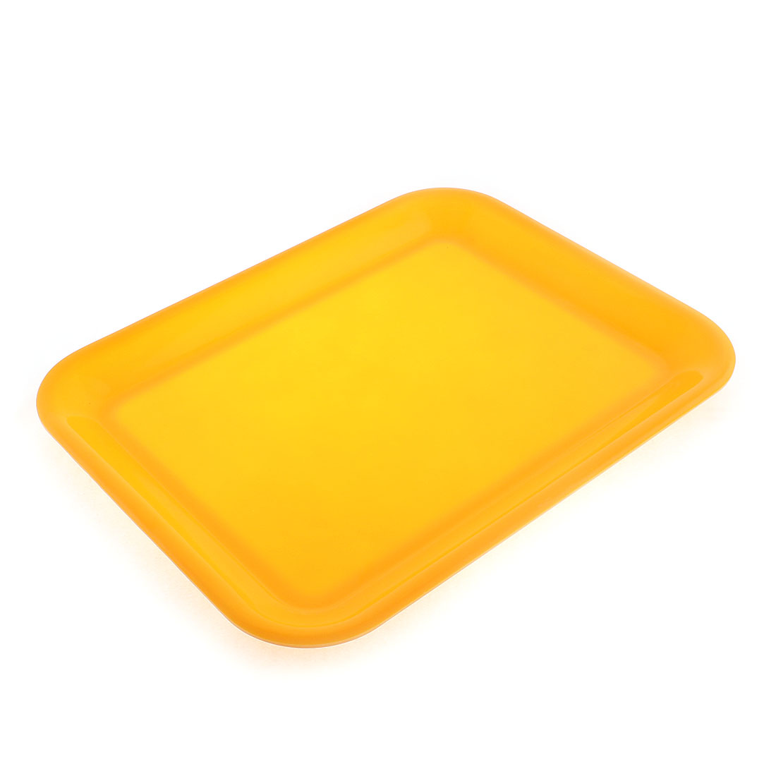 "Restaurant Plastic Rectangle Shaped Food Sandwich Serving Tray Yellow 15"" Length"