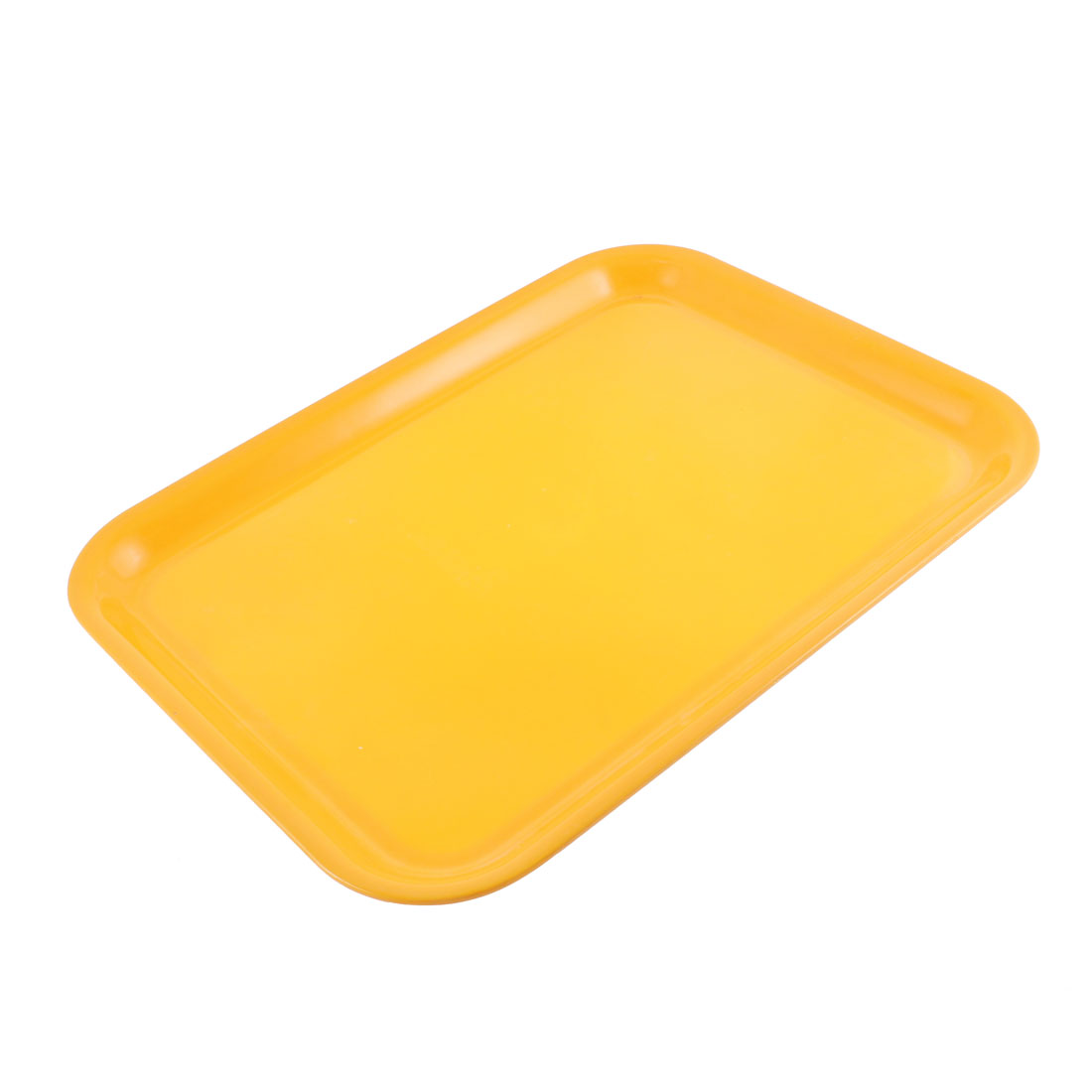 "Restaurant Plastic Rectangle Shape Fast Food Coffee Serving Tray Yellow 17"" Length"