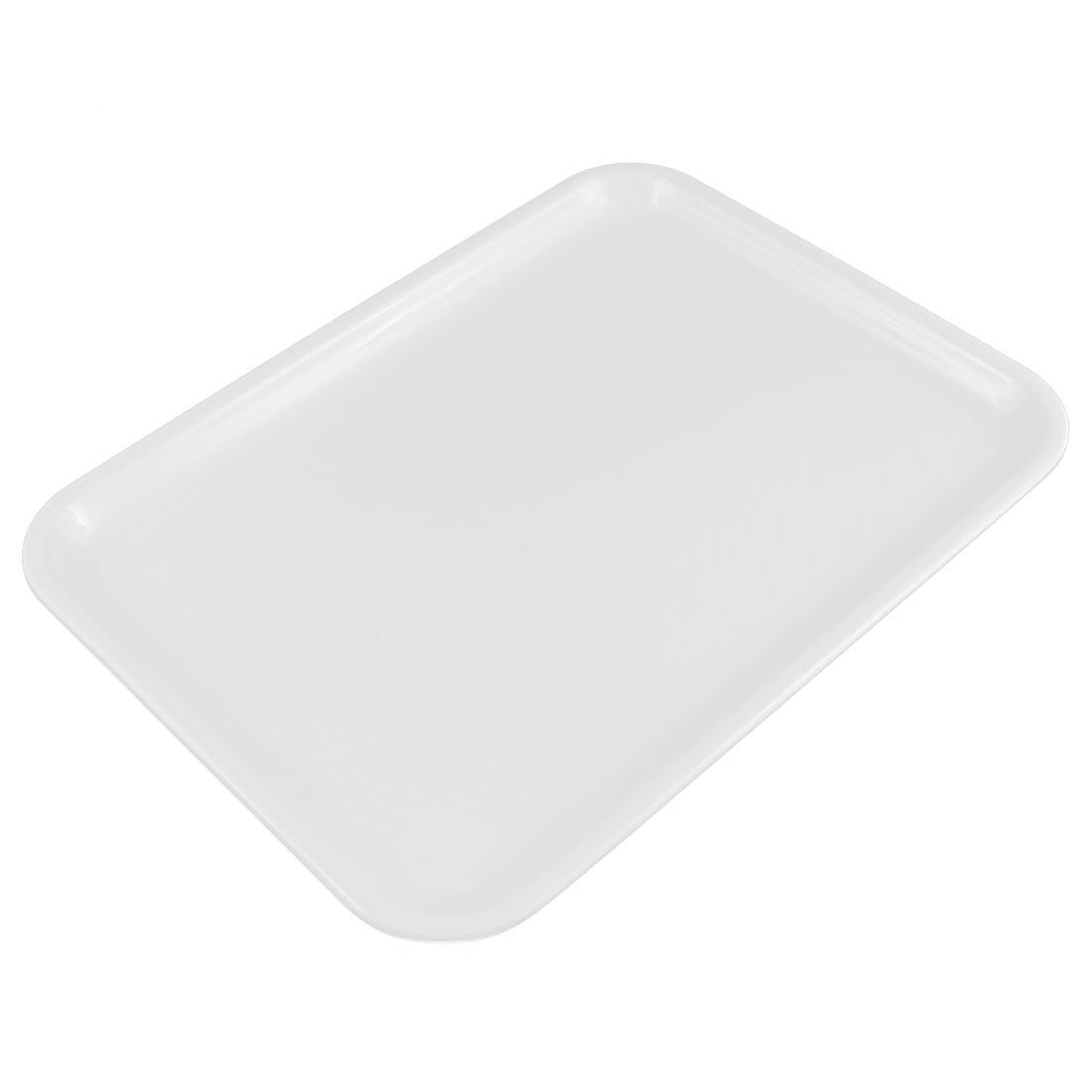 "Hotel Restaurant Plastic Food Cake Drinks Serving Tray White 10"" Length"