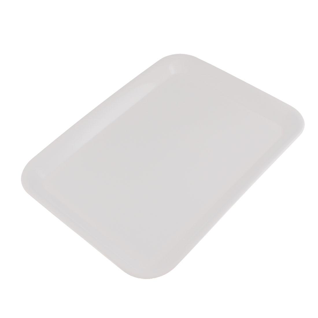 "Plastic Rectangle Shaped Dinner Serving Tray White 15"" Length"