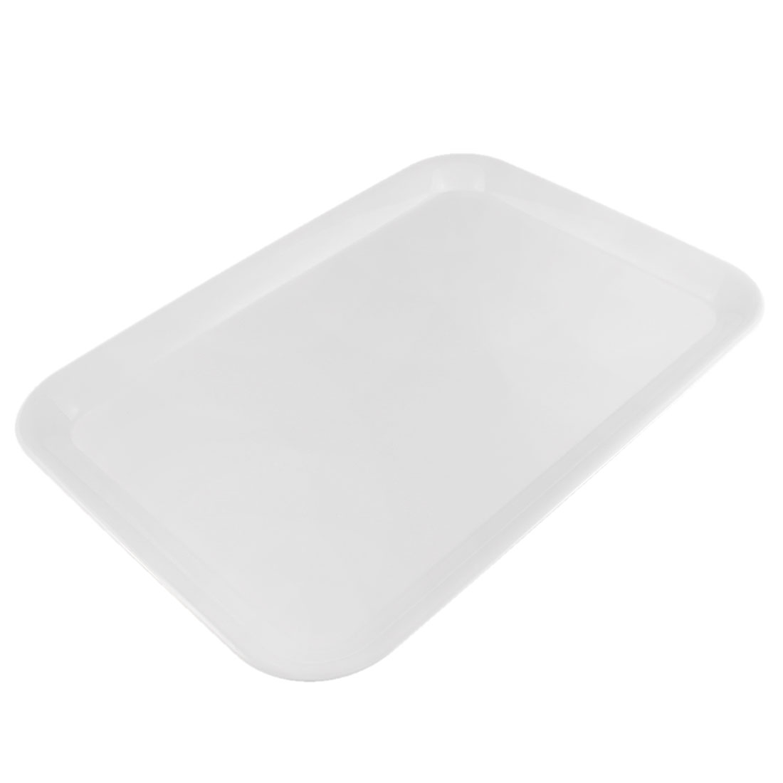 "Restaurant Kitchen Plastic Rectangle Shape Fast Food Serving Tray White 17"" Length"