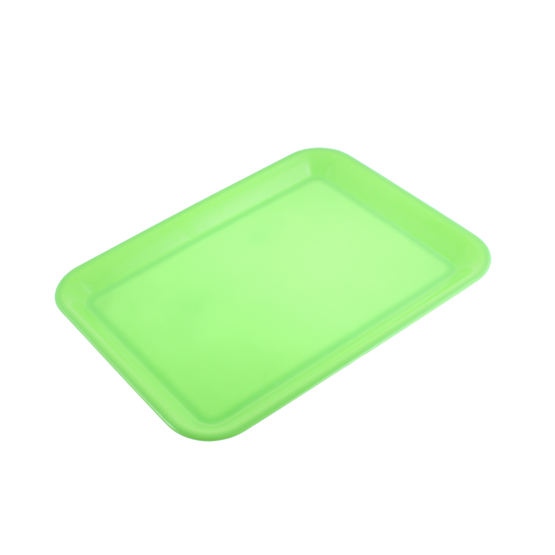 "Restaurant Plastic Rectangle Shape Food Dinner Serving Tray Green 15"" Length"