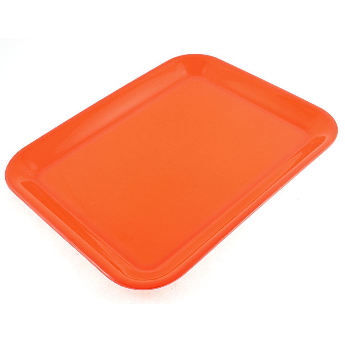 "Restaurant Plastic Rectangle Shaped Serving Tray Orange 13"" Length"