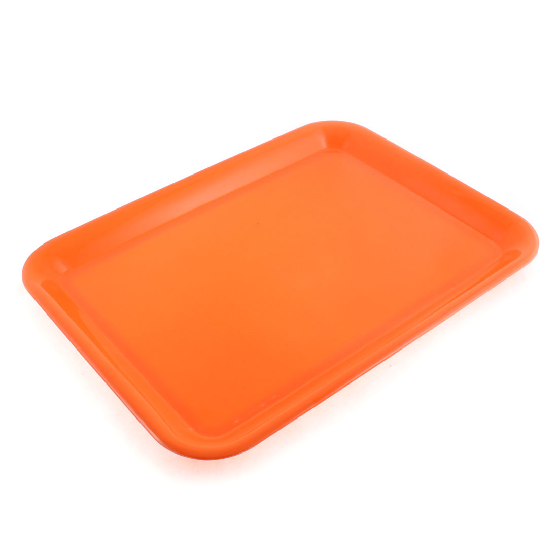 "Plastic Rectangle Shaped Food Cake Serving Tray Orange 15"" Length"