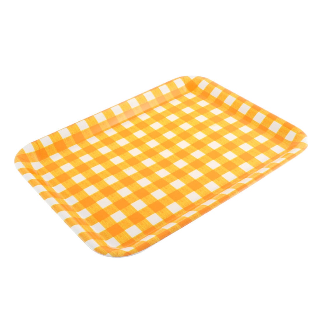"Restaurant Grid Pattern Rectangle Shaped Food Cake Serving Tray 15"" Length"