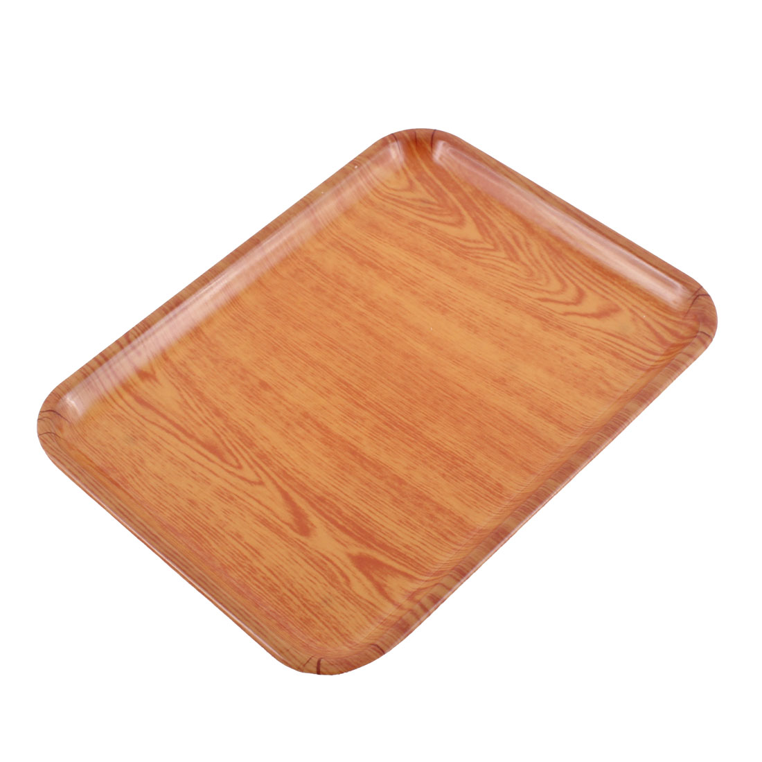 Restaurant Plastic Wood Grain Pattern Rectangle Shape Food Drinks Serving Tray