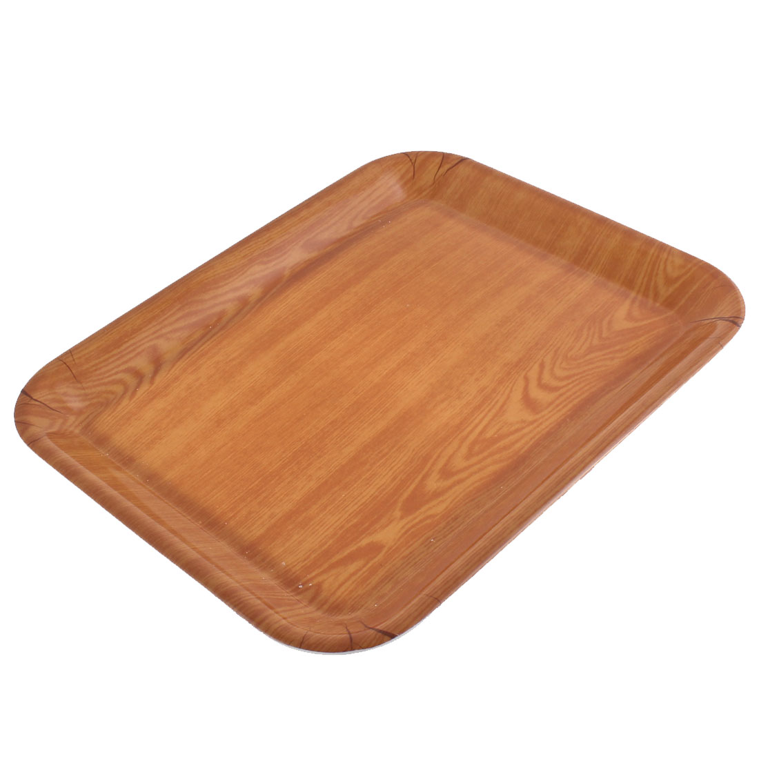 Hotel Restaurant Wood Grain Pattern Rectangle Shaped Food Cake Serving Tray