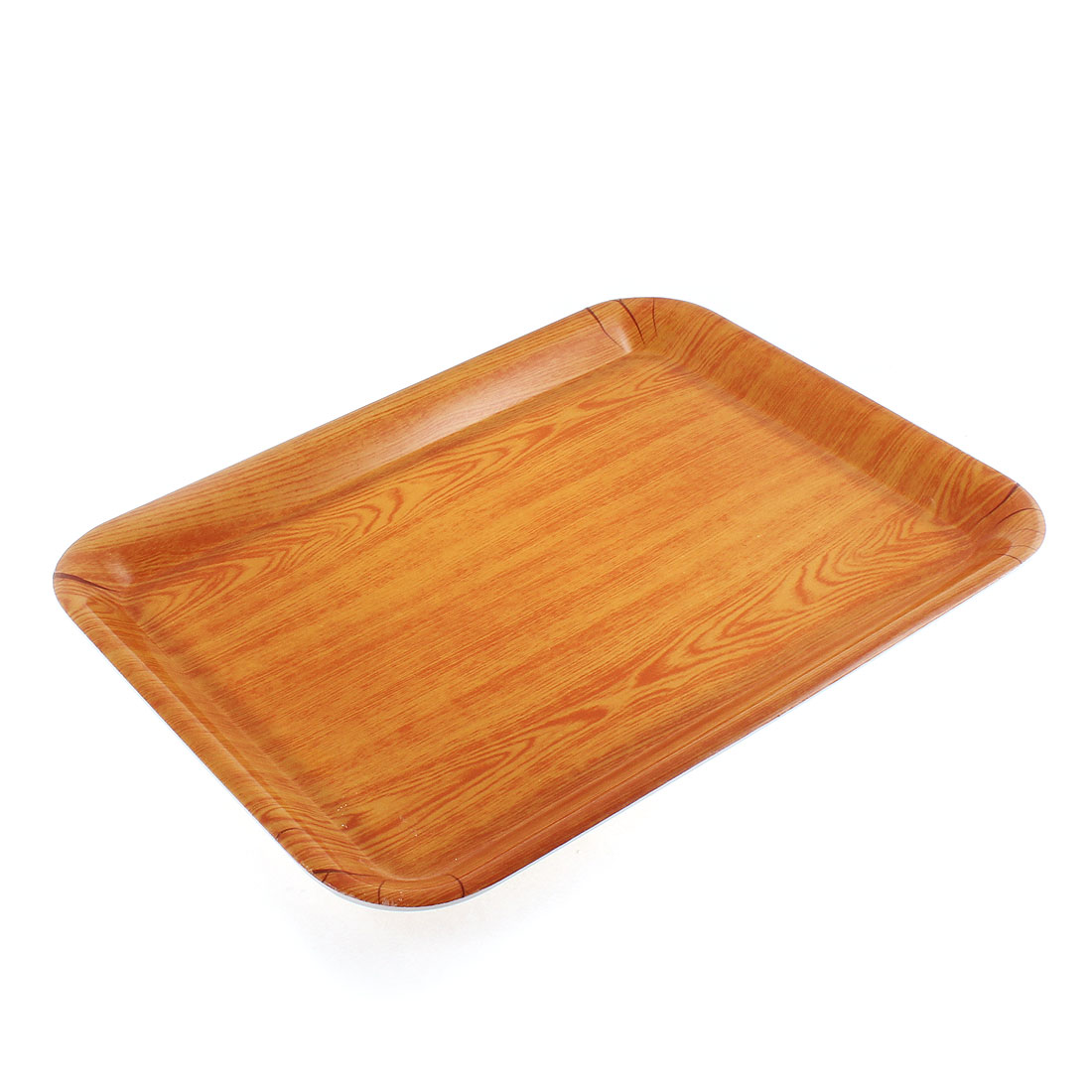 Restaurant Plastic Wood Grain Pattern Rectangle Shaped Food Dinner Serving Tray