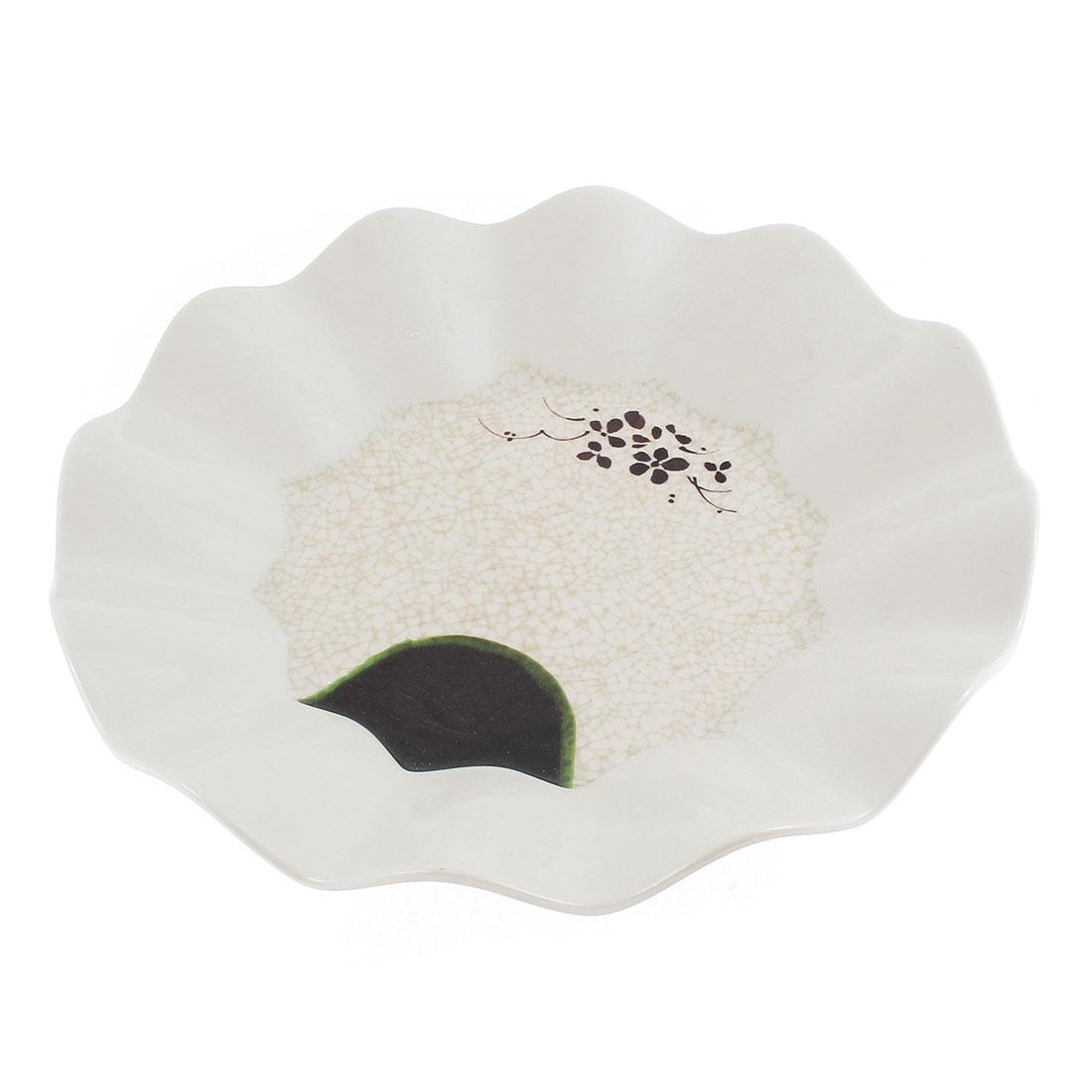 "Plastic Lotus Pattern Wavy Edge Round Shape Dessert Salad Plate 10.5"" Dia"