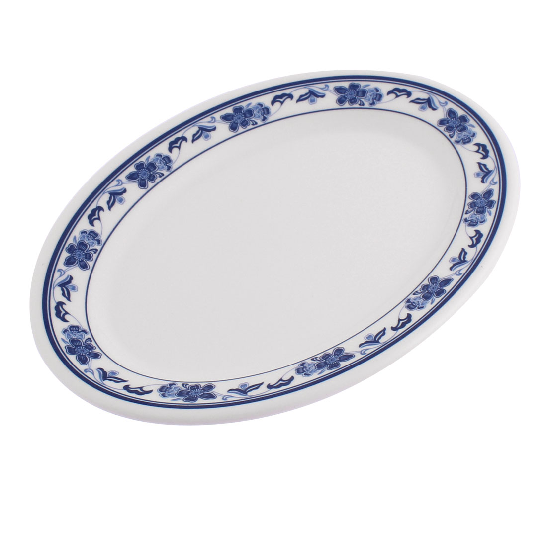 Plastic Oval Shaped Flower Printed Food Snack Dessert Dish Plate White Blue