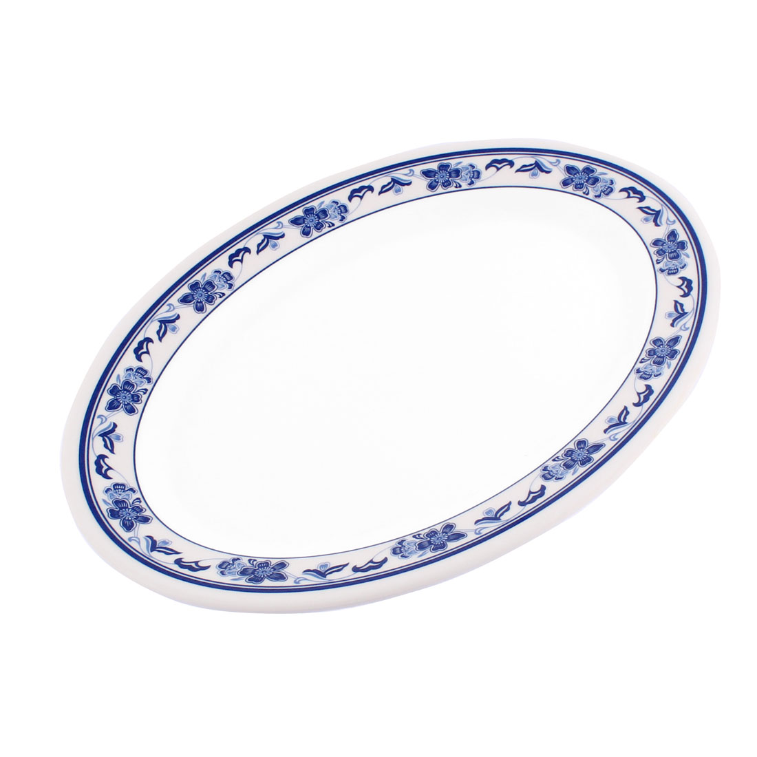 Plastic Oval Design Flower Print Food Snack Dessert Dinner Fruit Dish Plate