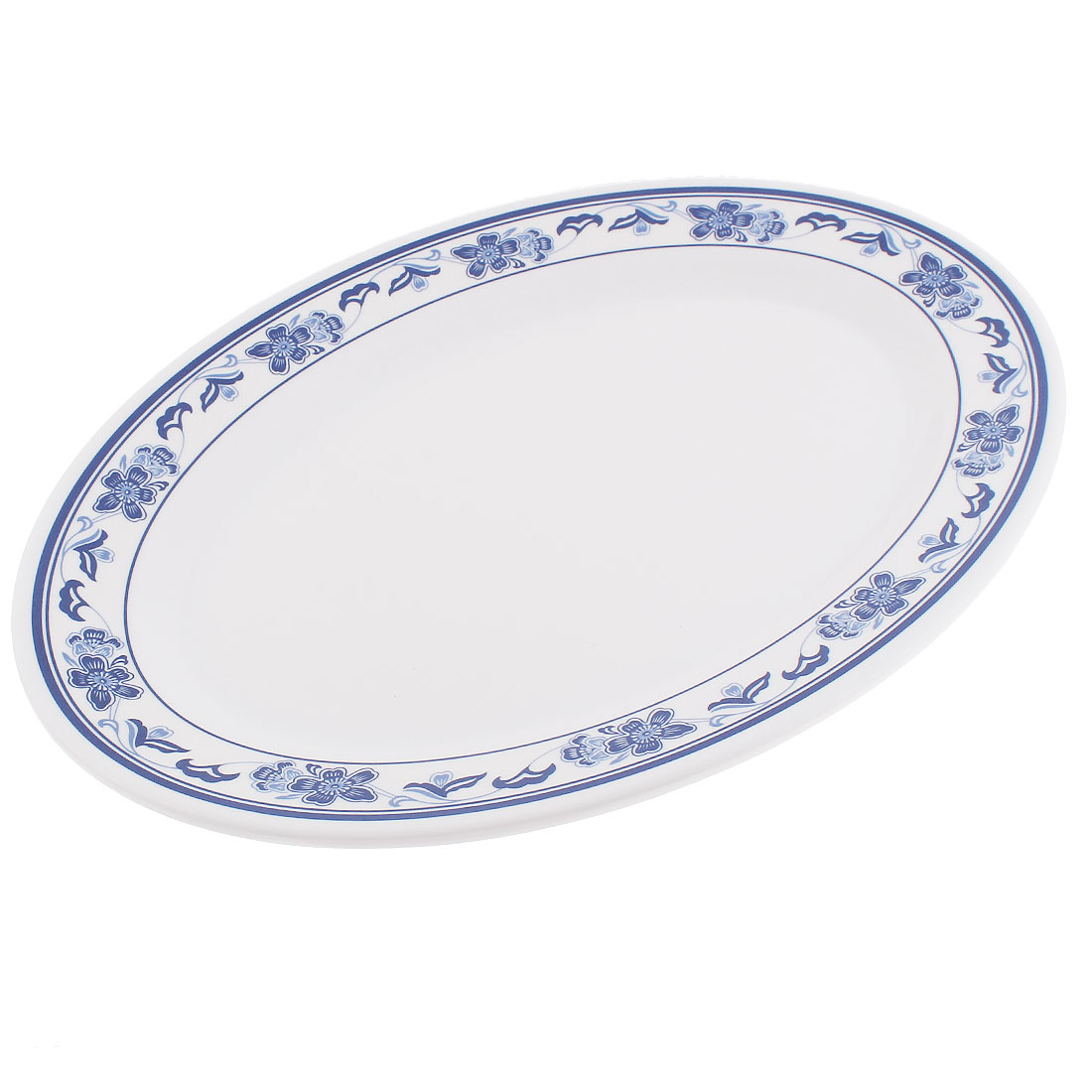 "Hotel Restaurant Plastic Flower Pattern Oval Shape Food Dish Plate 17"" Length"
