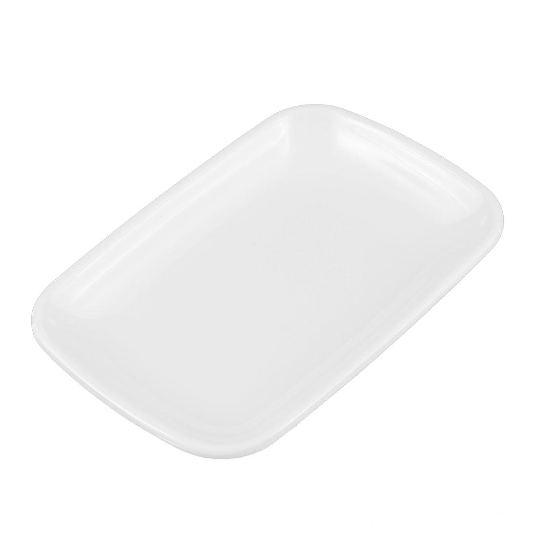 Restaurant Plastic Rectangle Shaped Dessert Pickles Appetizer Plate Dish White