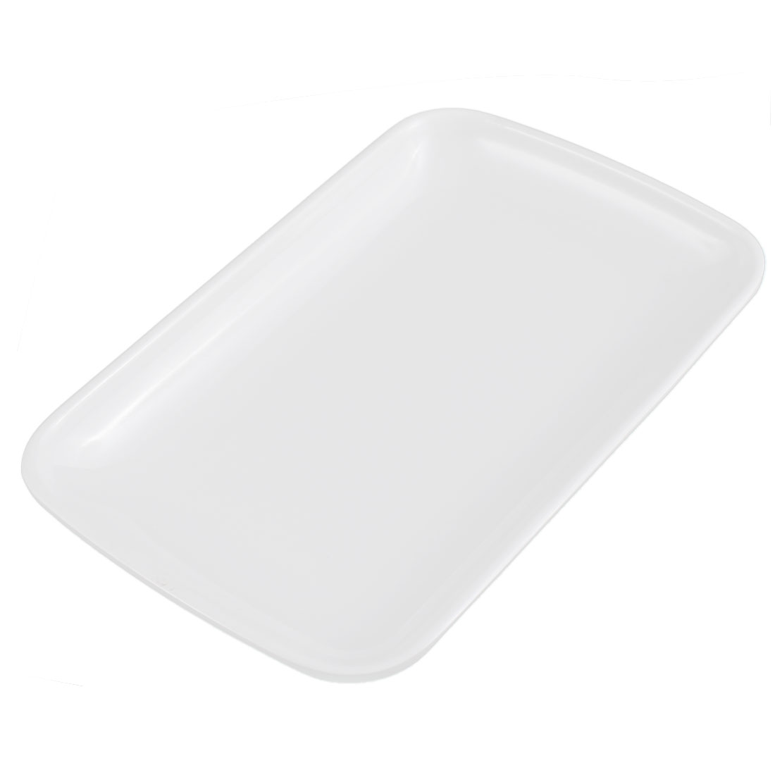 Home Kitchen Plastic Rectangle Design Vermicelli Food Plate Dish Container White