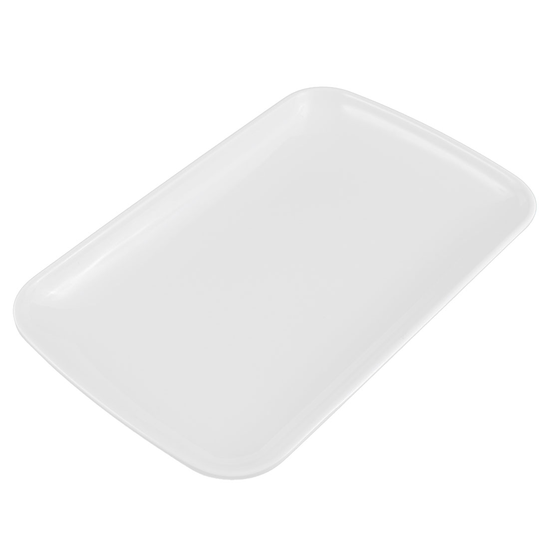 "Plastic Rectangle Shaped Dinner Dessert Vermicelli Snack Plate Dish White 9.5"" x 6"""