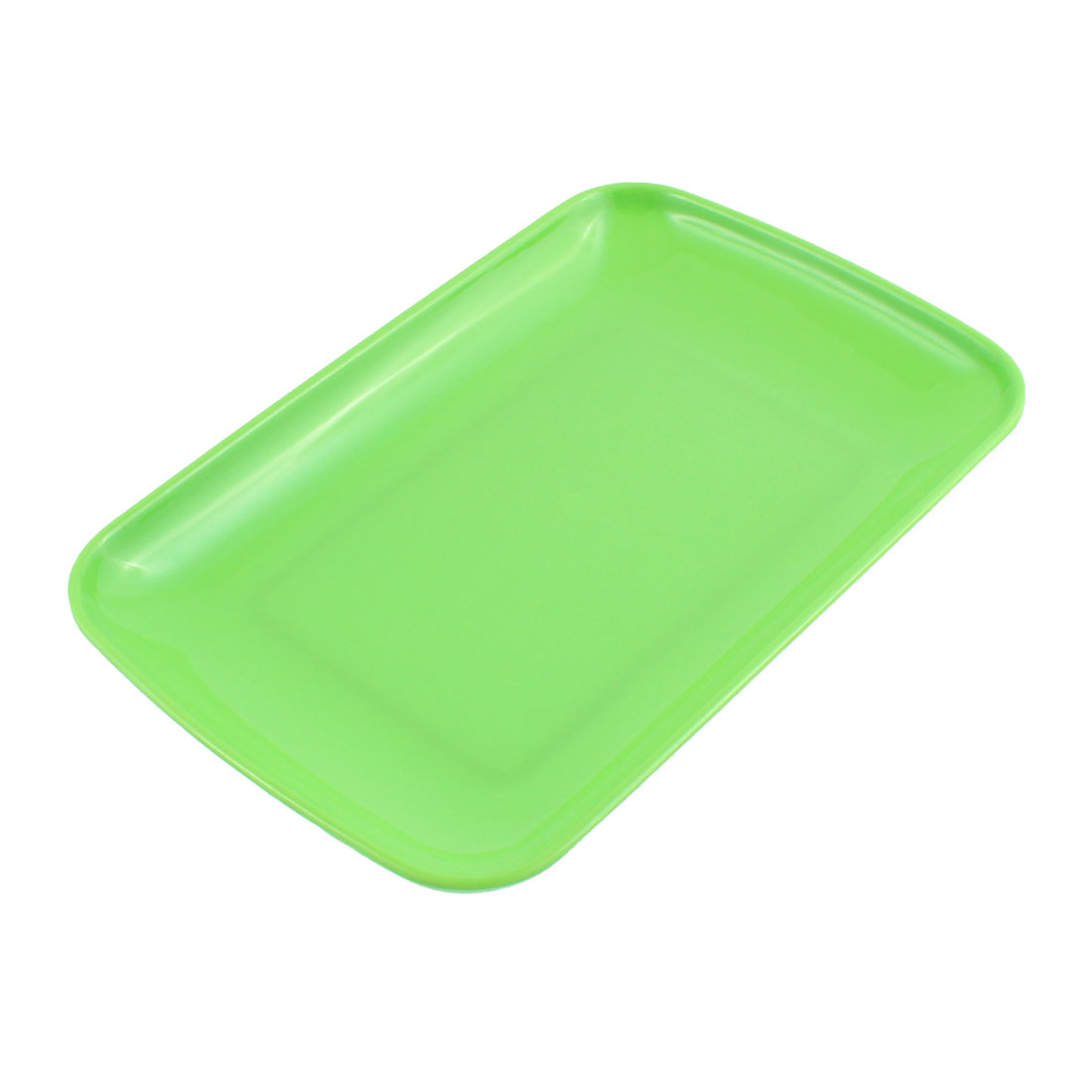 "Plastic Rectangle Shaped Dinner Dessert Vermicelli Snack Plate Dish Green 9.5"" x 6"""