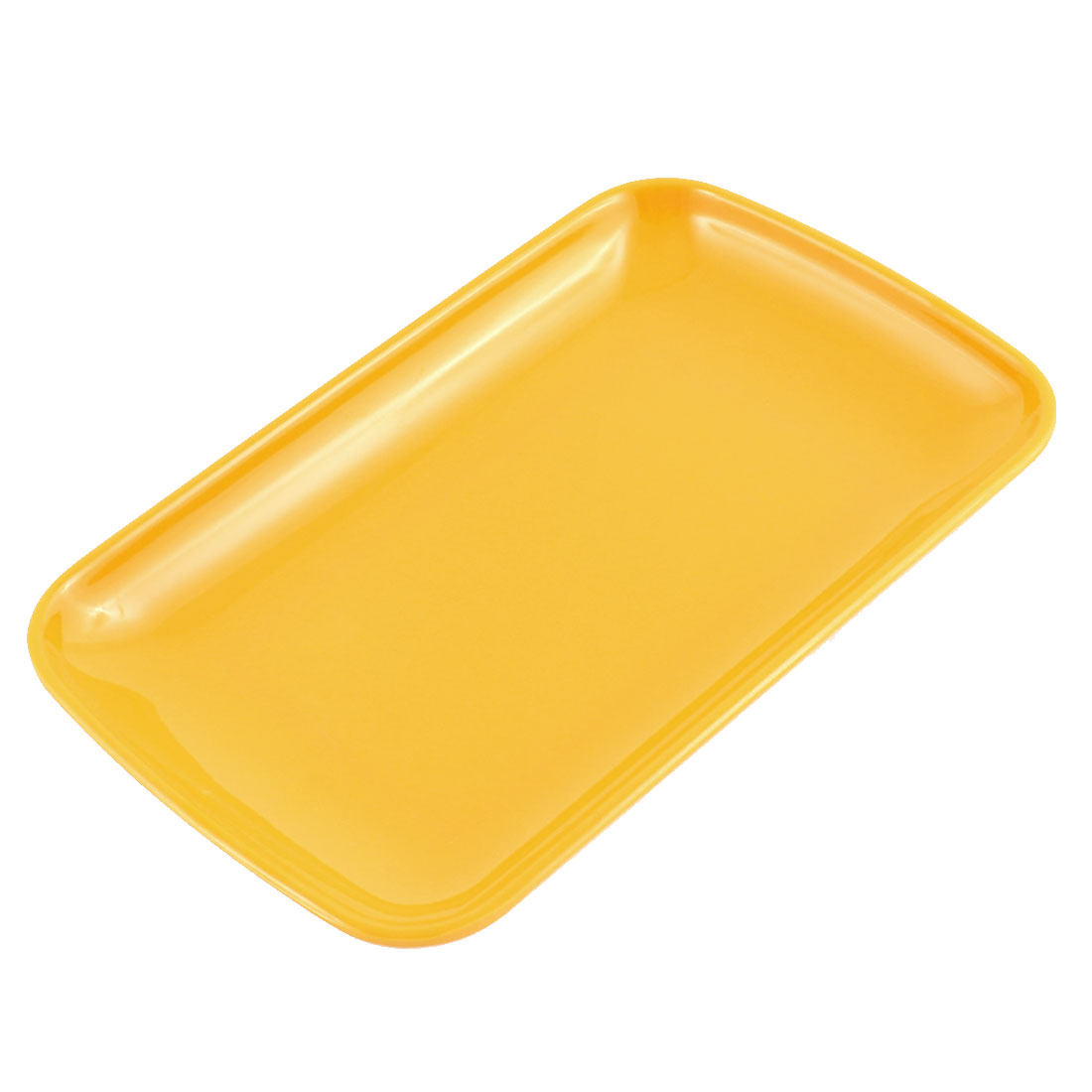 Home Kitchen Plastic Rectangle Design Vermicelli Food Plate Dish Container Orange