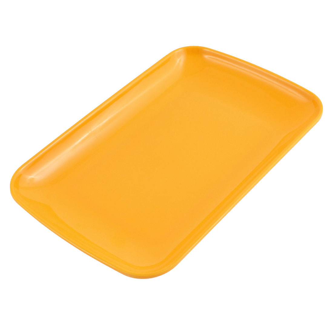 "Plastic Rectangle Shaped Dinner Dessert Vermicelli Snack Plate Dish Orange 9.5"" x 6"""