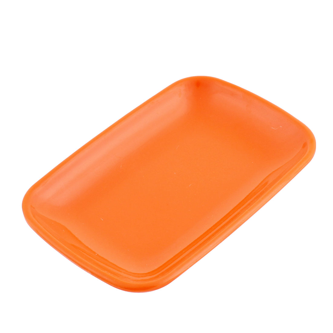 Restaurant Plastic Rectangle Shaped Dessert Pickles Appetizer Plate Dish Orangered