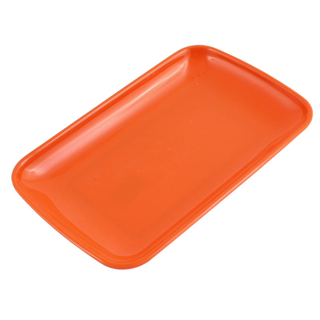 Home Kitchen Plastic Rectangle Design Vermicelli Food Plate Dish Container Orangered