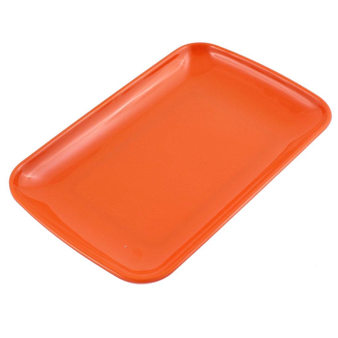 Plastic Rectangle Shaped Dinner Dessert Vermicelli Snack Plate Dish Orangered