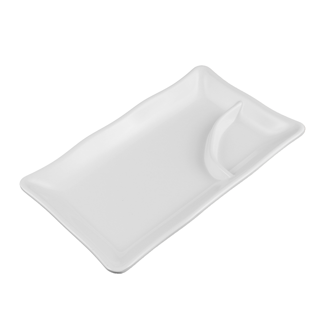 Plastic 2 Compartments Dumplings Sushi Sauce Mustard Dipping Dish Plate Off White