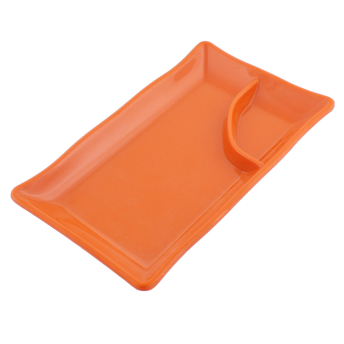 Plastic 2 Compartments Dumplings Sushi Soy Sauce Dipping Dish Plate Orangered