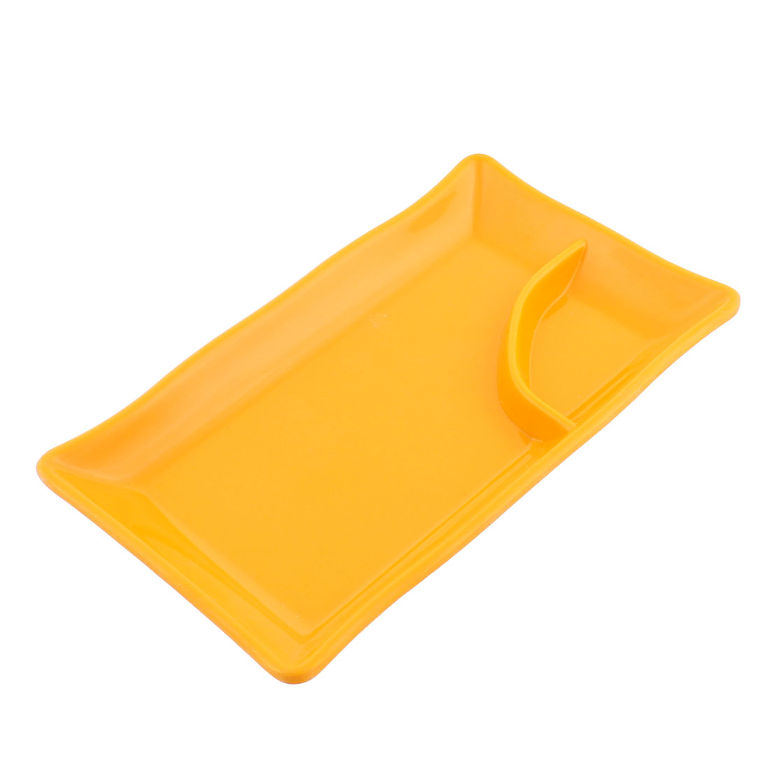 Plastic 2 Compartments Dumplings Sushi Sauce Mustard Dipping Dish Plate Orange