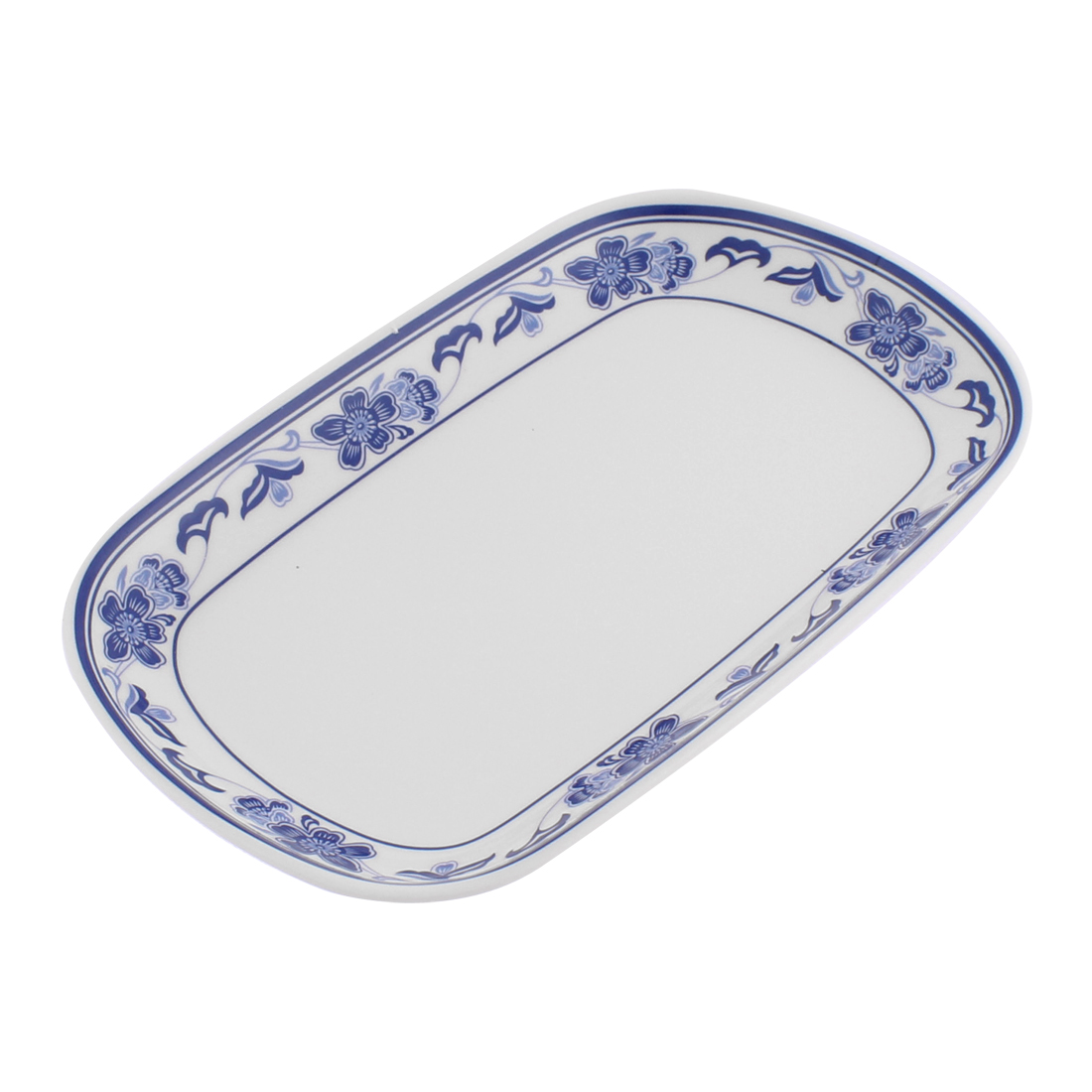 Flower Printed Edge Rectangle Shaped Food Dish Plate White Blue 19x12cm