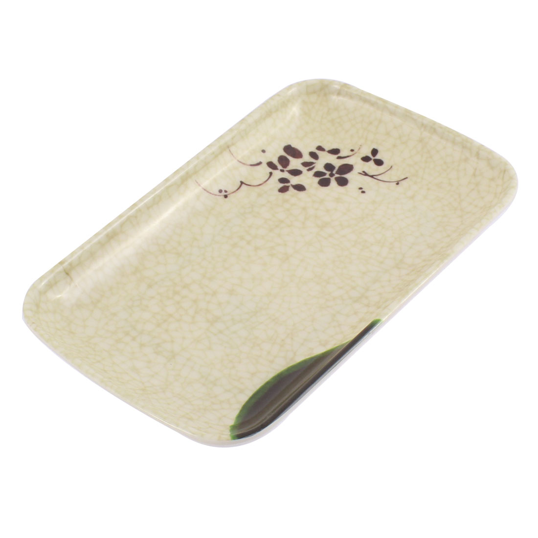 Rectangle Shaped Flower Printed Food Snack Dish Plate Towel Tray 19x12cm