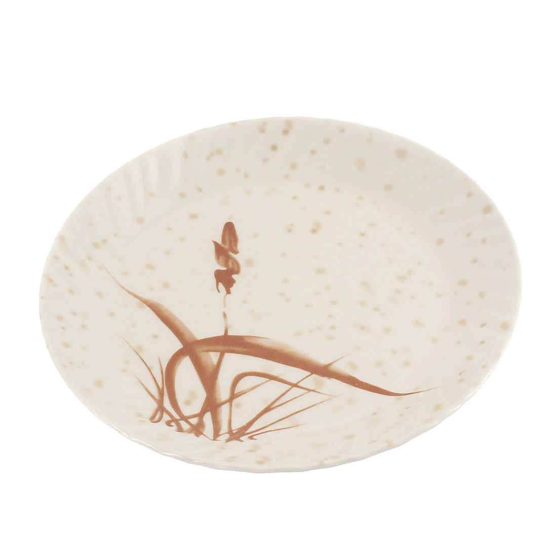 "Plastic Grass Printed Round Design Lunch Food Dish Plate 23cm 9"" Dia"
