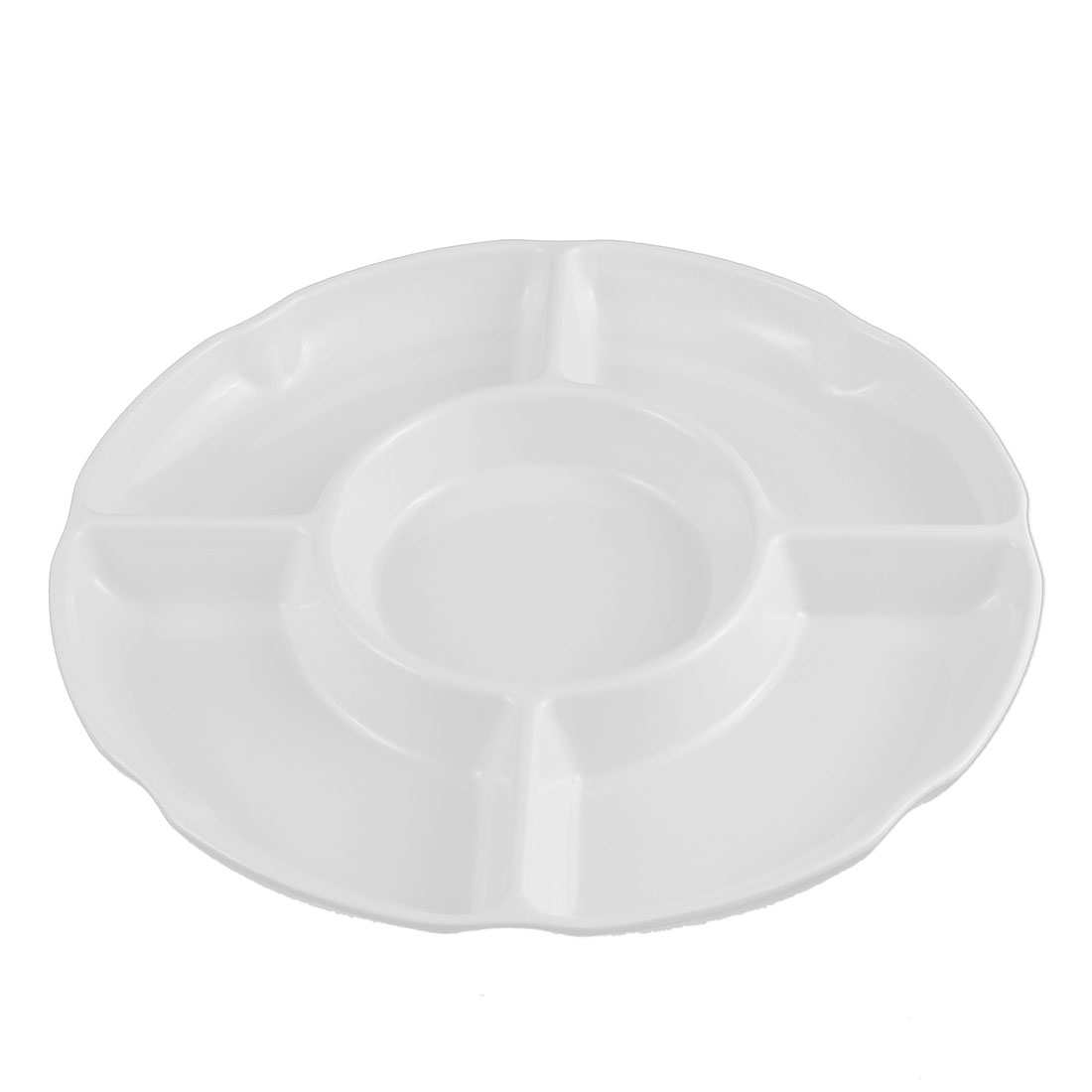 "Plastic 5 Sections Fruits Sushi Divided Platter White 11"" Dia"