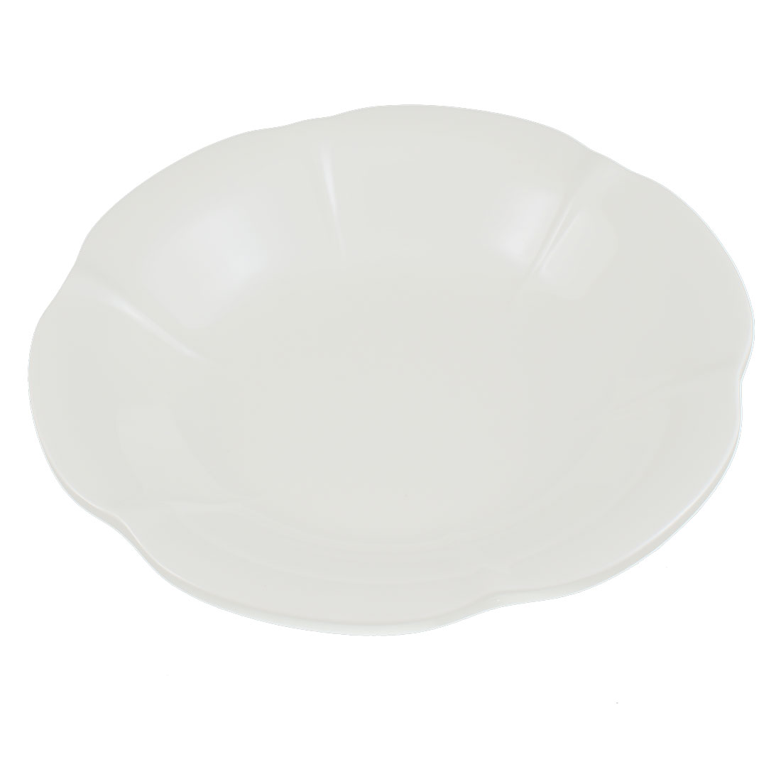 Hotel Restaurant Lotus Shaped Food Dessert Salad Dish Plate White 22cm Dia