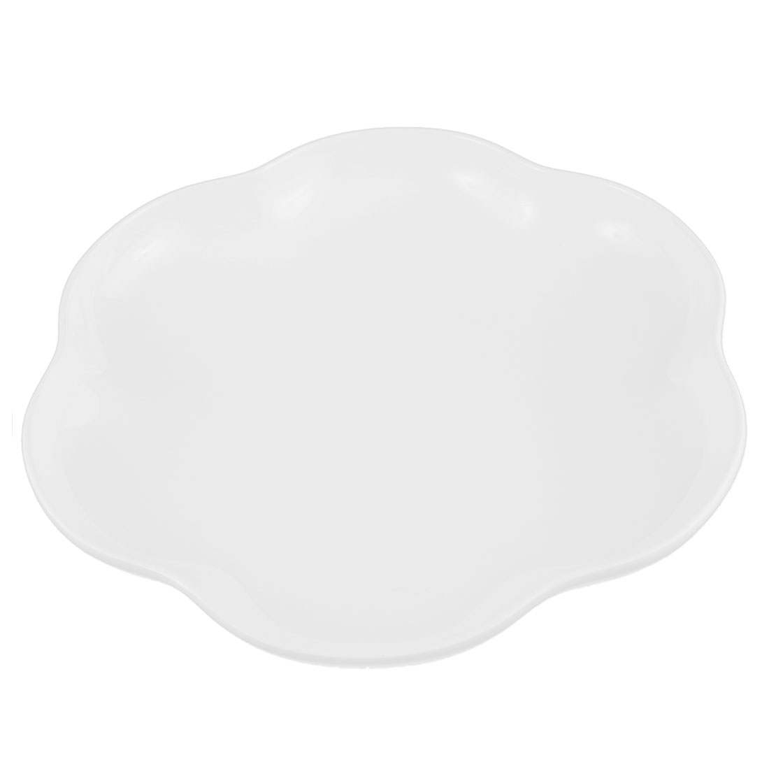 Home Plastic Lotus Shape Fruits Dessert Dish Plate White