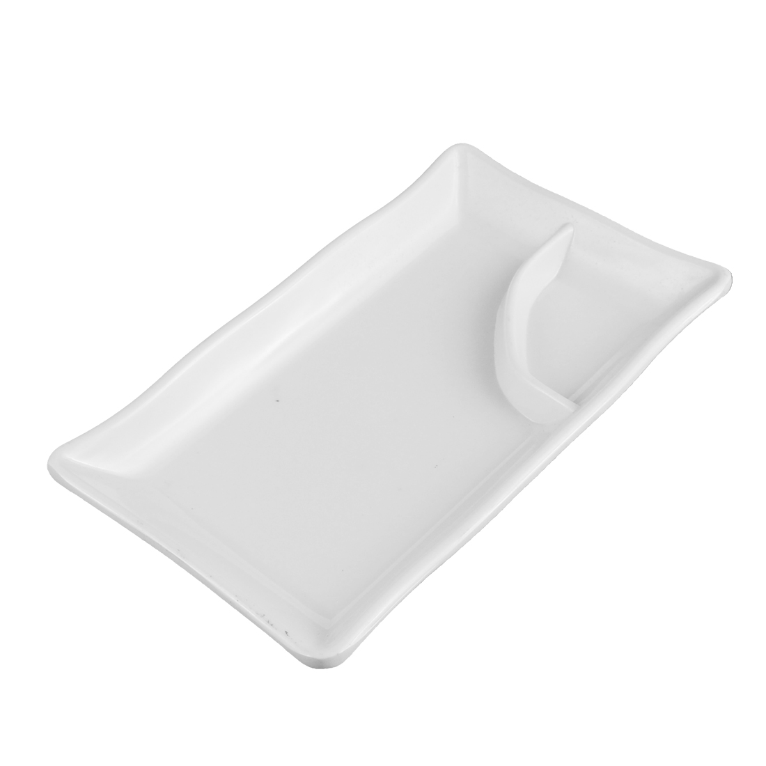 Plastic 2 Compartment Dumplings Sushi Soy Sauce Mustard Dipping Dish Plate White
